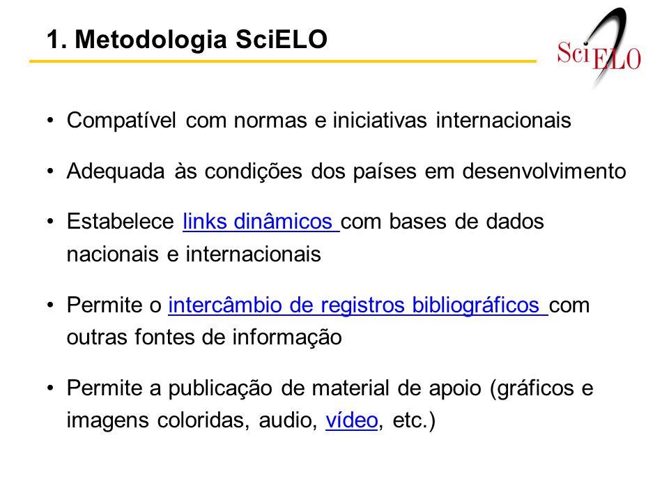 1. Metodologia SciELO Compatível com normas e iniciativas internacionais. Adequada às condições dos países em desenvolvimento.