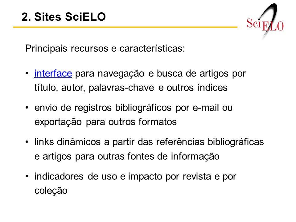 2. Sites SciELO Principais recursos e características:
