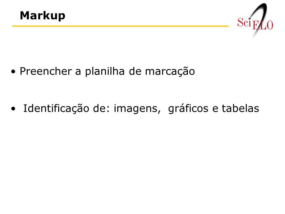 Markup Preencher a planilha de marcação