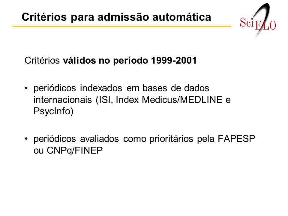 Critérios para admissão automática