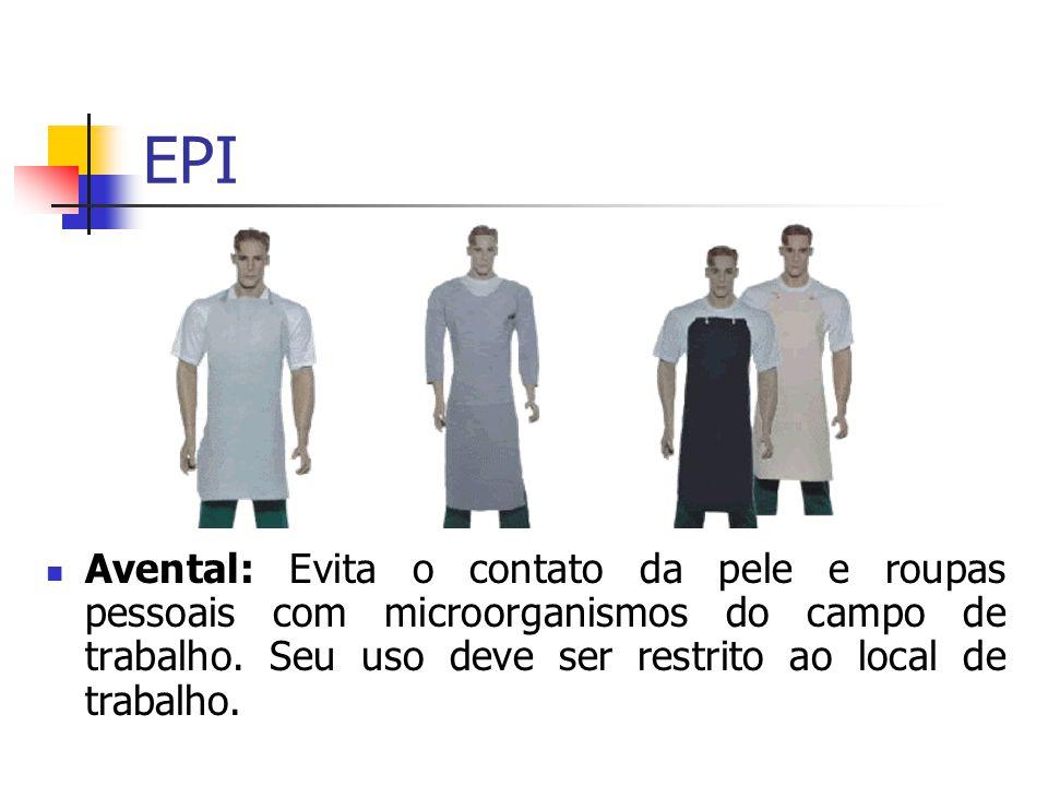 EPI Avental: Evita o contato da pele e roupas pessoais com microorganismos do campo de trabalho.