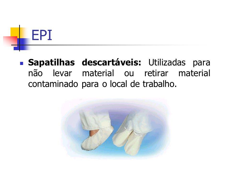 EPI Sapatilhas descartáveis: Utilizadas para não levar material ou retirar material contaminado para o local de trabalho.