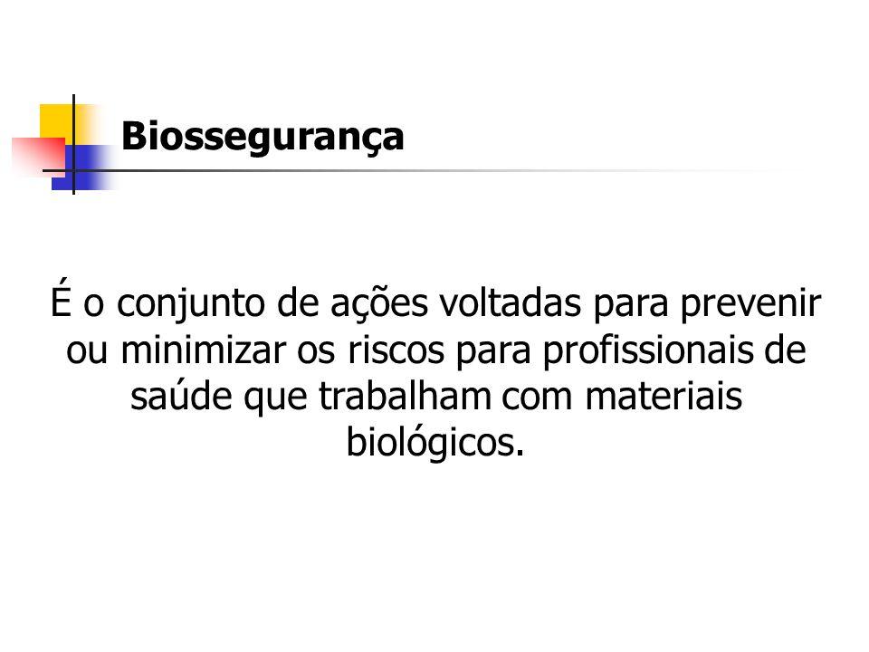 Biossegurança É o conjunto de ações voltadas para prevenir ou minimizar os riscos para profissionais de saúde que trabalham com materiais biológicos.