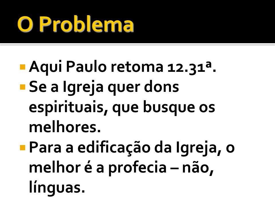 O Problema Aqui Paulo retoma 12.31ª.