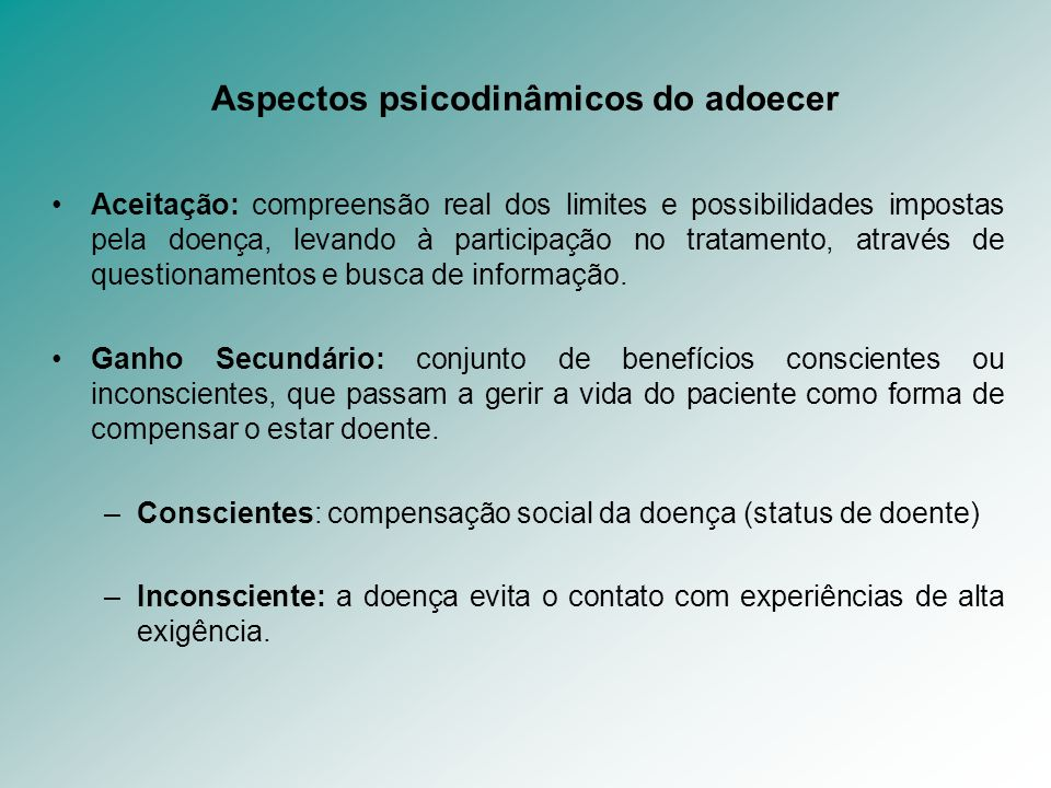 Aspectos psicodinâmicos do adoecer
