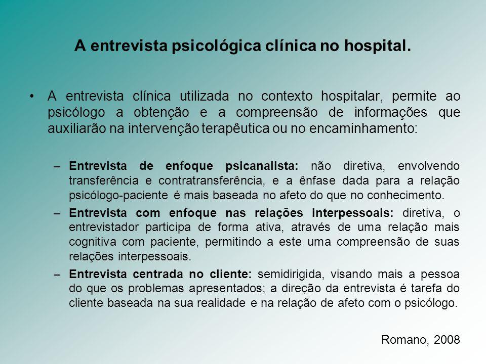 A entrevista psicológica clínica no hospital.