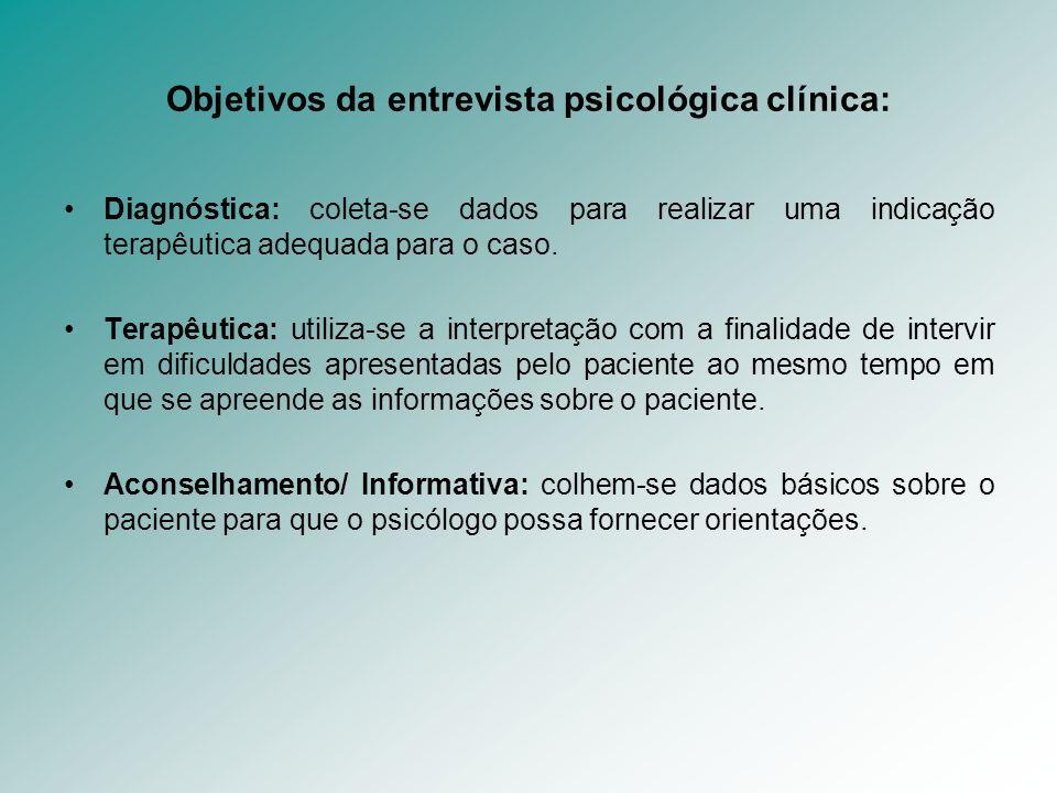 Objetivos da entrevista psicológica clínica: