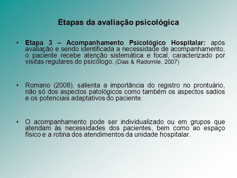 Etapas da avaliação psicológica