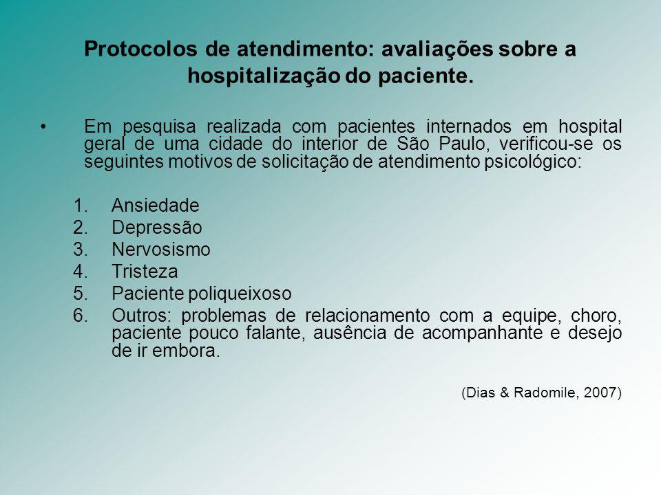 Protocolos de atendimento: avaliações sobre a hospitalização do paciente.