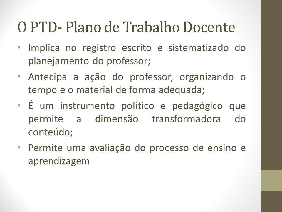 O PTD- Plano de Trabalho Docente