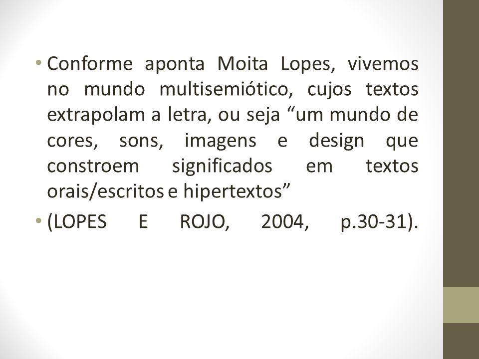 Conforme aponta Moita Lopes, vivemos no mundo multisemiótico, cujos textos extrapolam a letra, ou seja um mundo de cores, sons, imagens e design que constroem significados em textos orais/escritos e hipertextos