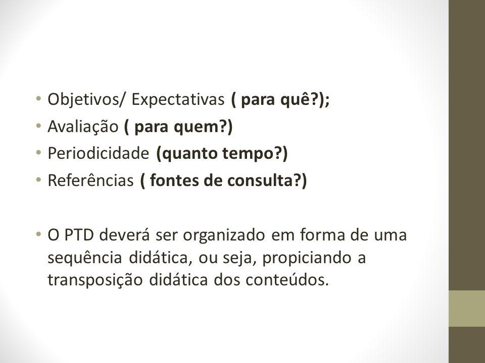 Objetivos/ Expectativas ( para quê );
