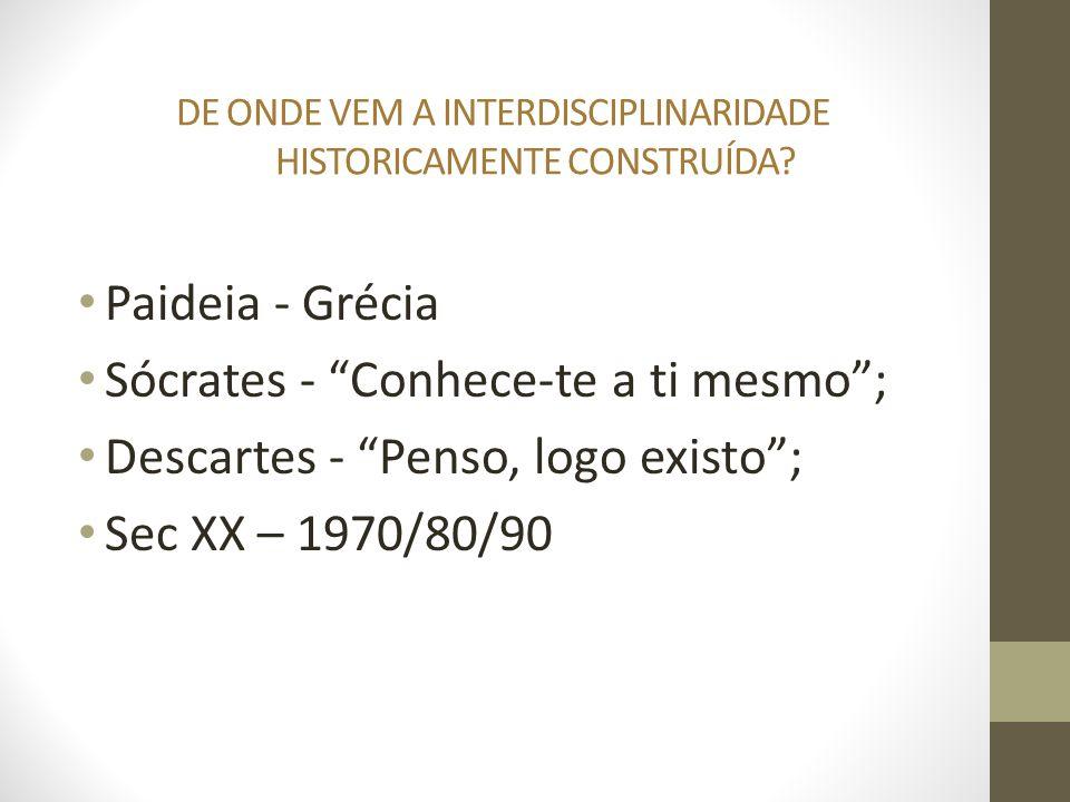 DE ONDE VEM A INTERDISCIPLINARIDADE HISTORICAMENTE CONSTRUÍDA