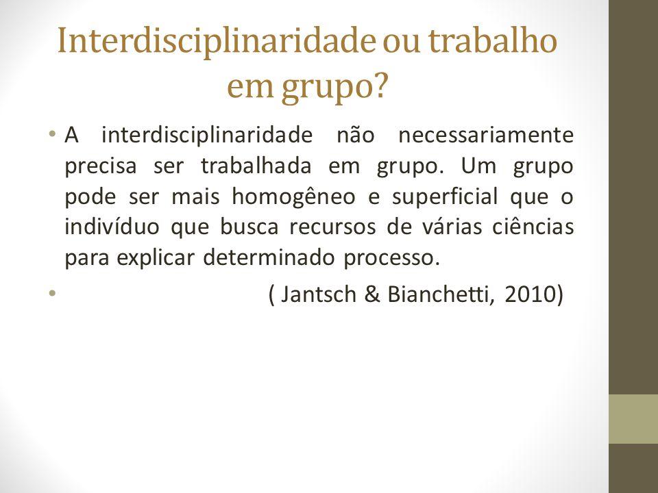 Interdisciplinaridade ou trabalho em grupo