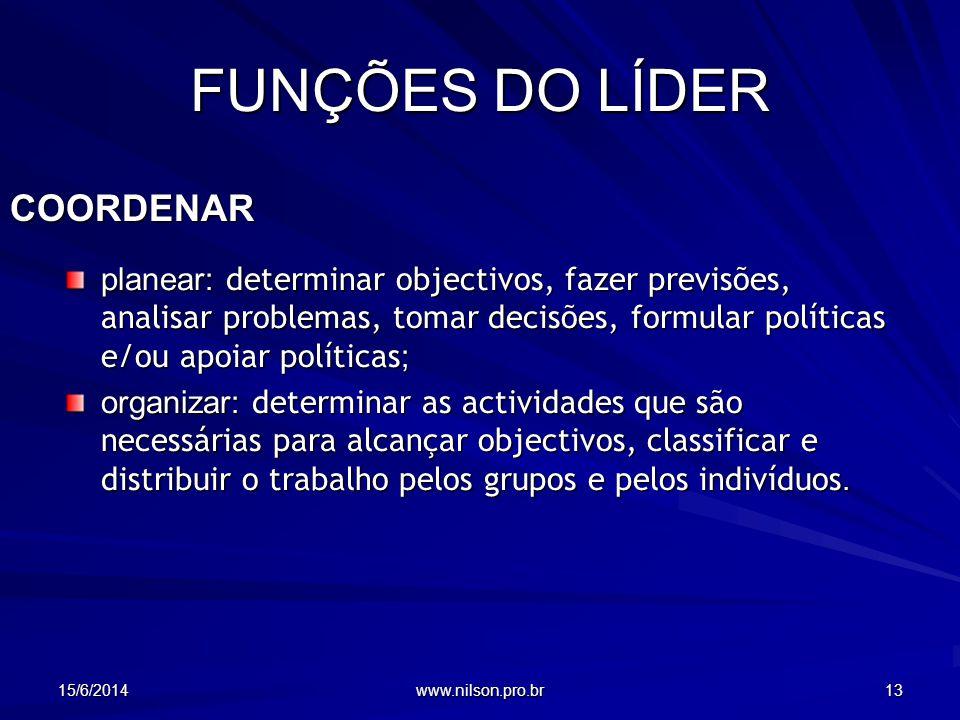 FUNÇÕES DO LÍDER COORDENAR