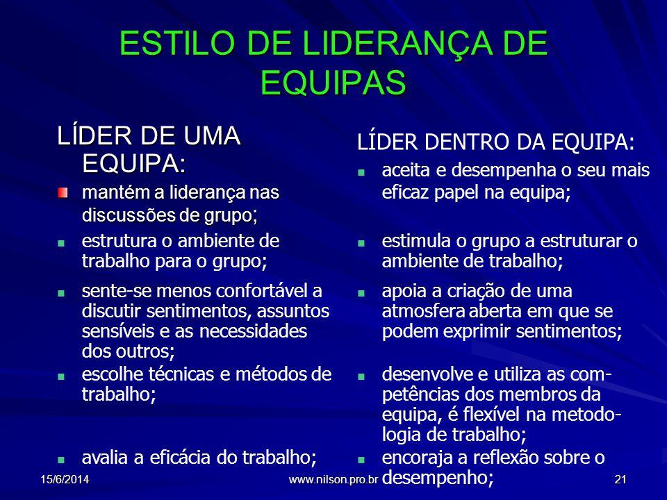 ESTILO DE LIDERANÇA DE EQUIPAS