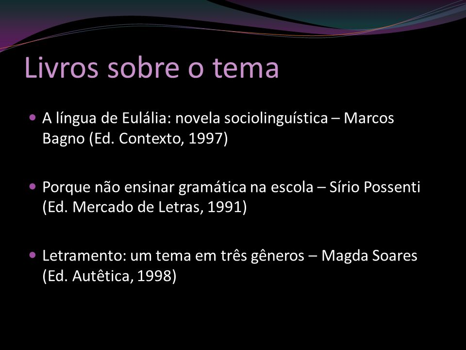 Livros sobre o tema A língua de Eulália: novela sociolinguística – Marcos Bagno (Ed. Contexto, 1997)
