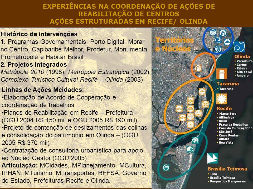 EXPERIÊNCIAS NA COORDENAÇÃO DE AÇÕES DE REABILITAÇÃO DE CENTROS