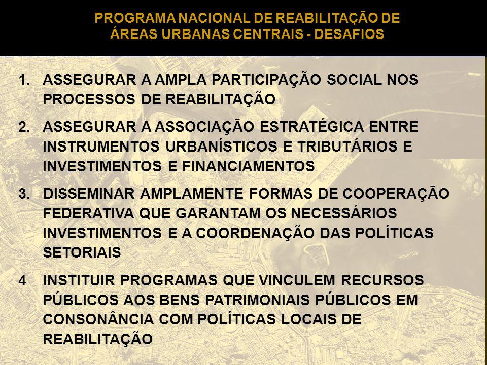 PROGRAMA NACIONAL DE REABILITAÇÃO DE ÁREAS URBANAS CENTRAIS - DESAFIOS