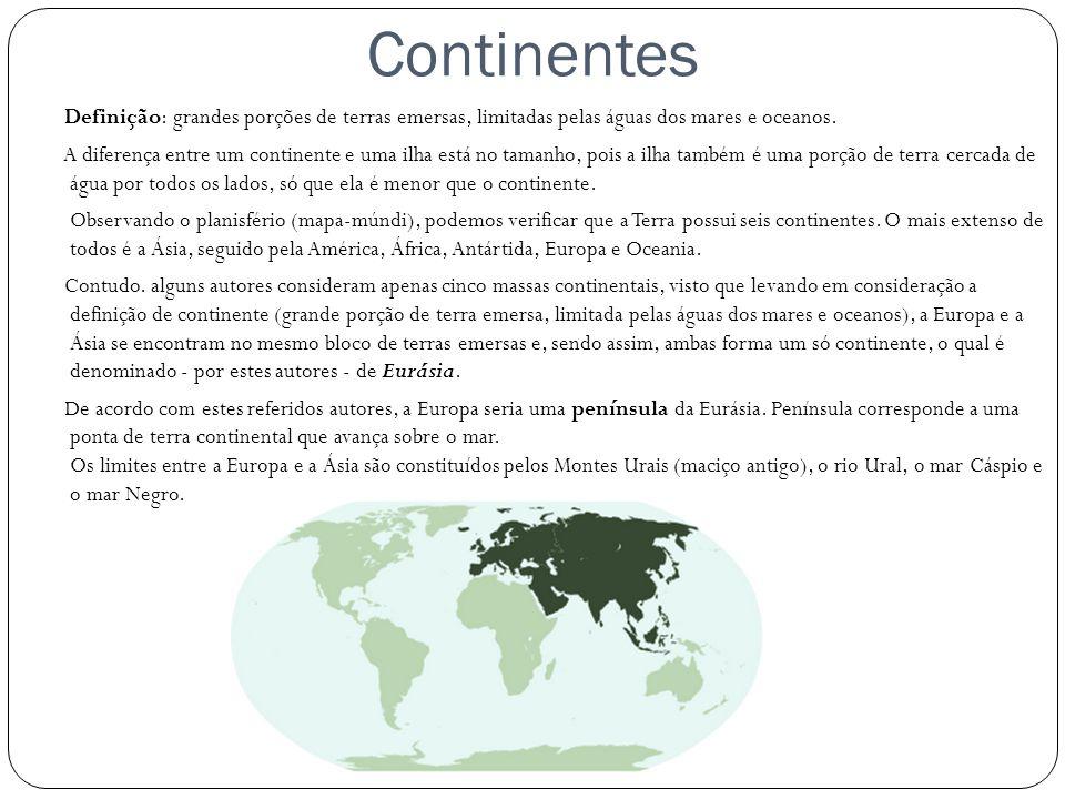 Continentes Definição: grandes porções de terras emersas, limitadas pelas águas dos mares e oceanos.