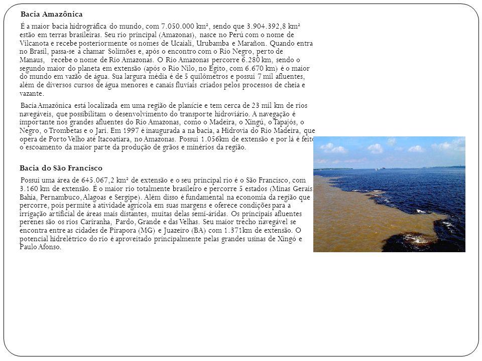Bacia Amazônica É a maior bacia hidrográfica do mundo, com 7. 050