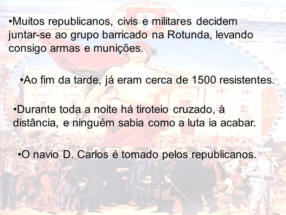 Muitos republicanos, civis e militares decidem juntar-se ao grupo barricado na Rotunda, levando consigo armas e munições.