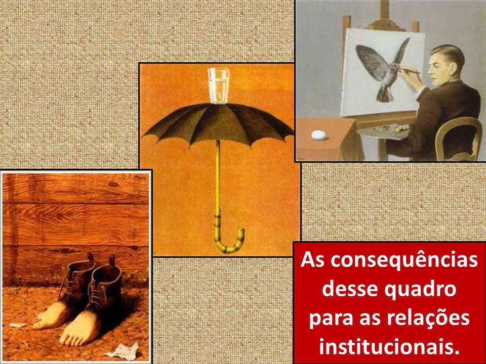 As consequências desse quadro para as relações institucionais.