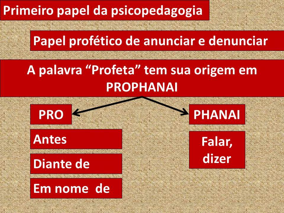 A palavra Profeta tem sua origem em PROPHANAI