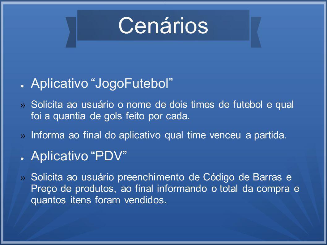 Cenários Aplicativo JogoFutebol Aplicativo PDV