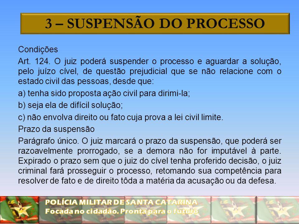 3 – SUSPENSÃO DO PROCESSO