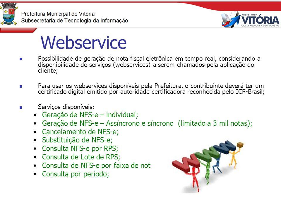 Webservice Geração de NFS-e – individual;
