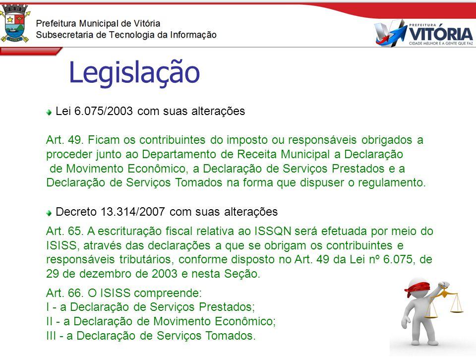 Legislação Lei 6.075/2003 com suas alterações
