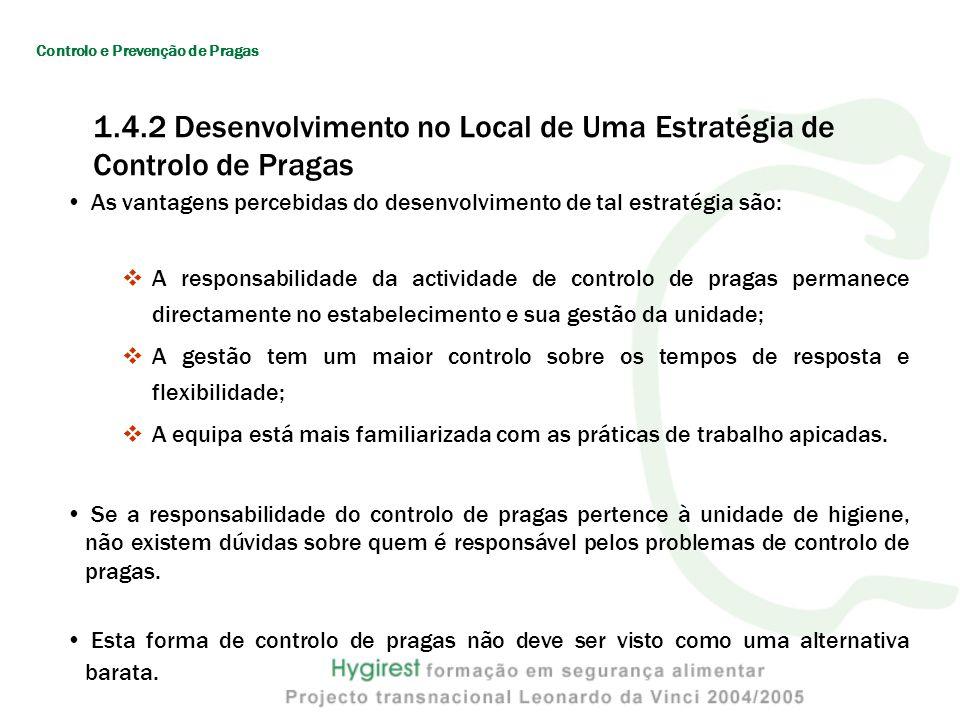1.4.2 Desenvolvimento no Local de Uma Estratégia de Controlo de Pragas