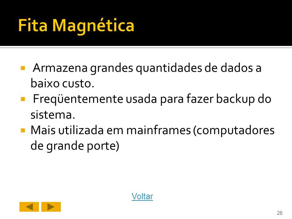 Fita Magnética Armazena grandes quantidades de dados a baixo custo.