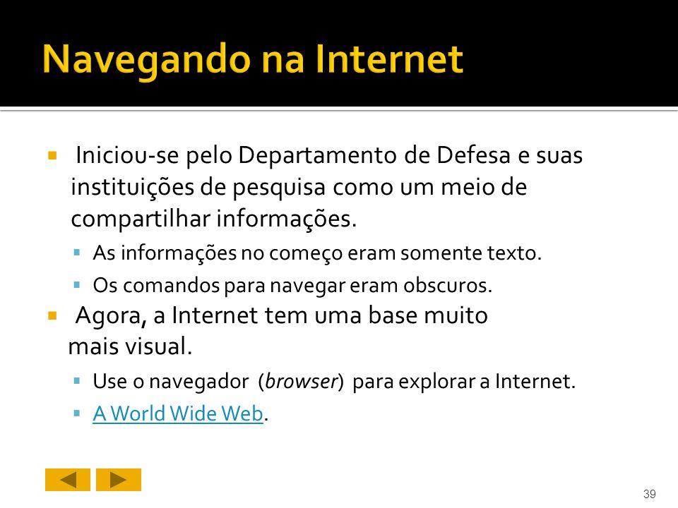 Navegando na Internet Iniciou-se pelo Departamento de Defesa e suas instituições de pesquisa como um meio de compartilhar informações.
