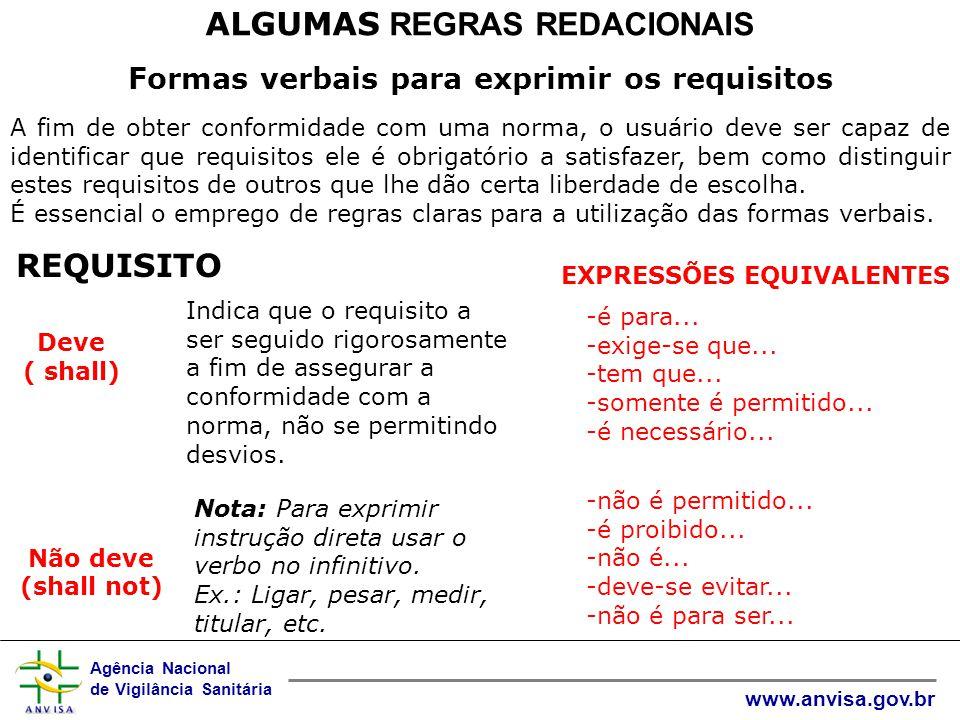ALGUMAS REGRAS REDACIONAIS Formas verbais para exprimir os requisitos