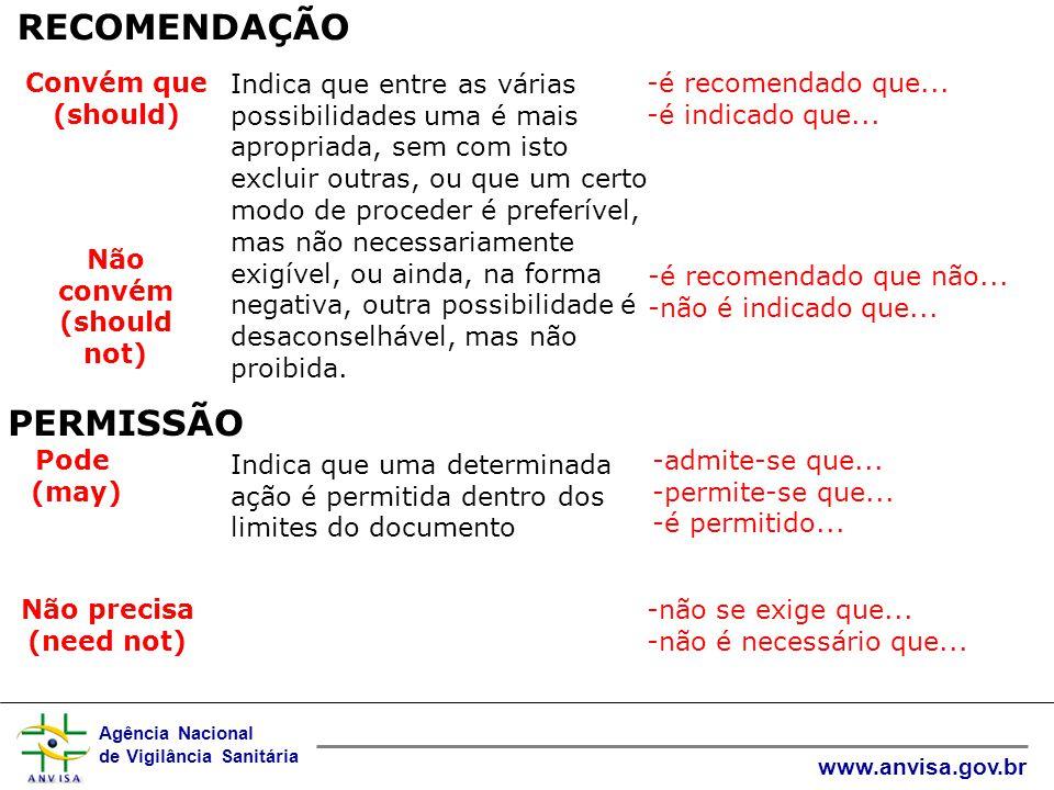Não convém (should not)