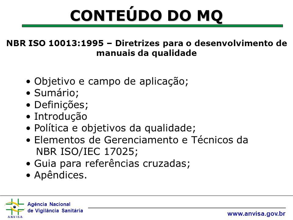 CONTEÚDO DO MQ Objetivo e campo de aplicação; Sumário; Definições;