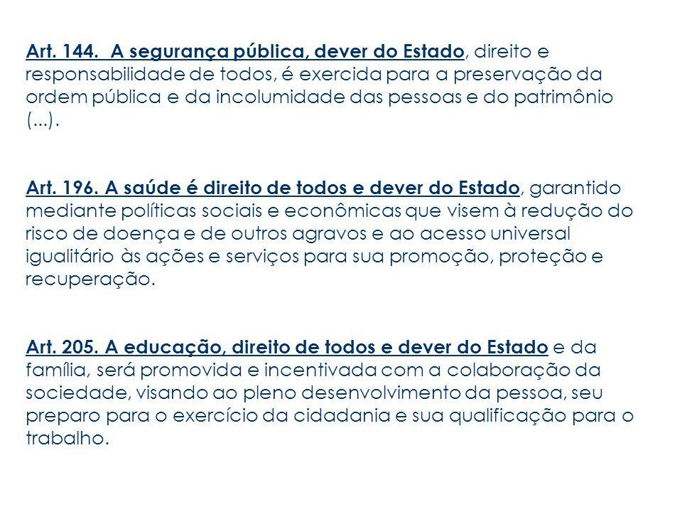 Art. 144. A segurança pública, dever do Estado, direito e responsabilidade de todos, é exercida para a preservação da ordem pública e da incolumidade das pessoas e do patrimônio (...).