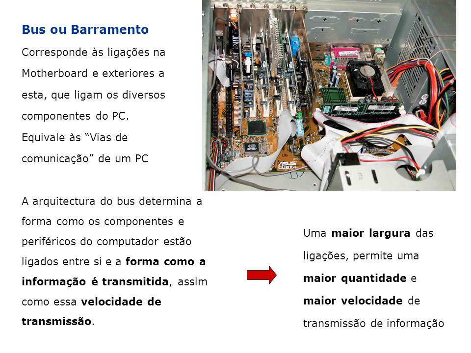 Bus ou Barramento Corresponde às ligações na Motherboard e exteriores a esta, que ligam os diversos componentes do PC.