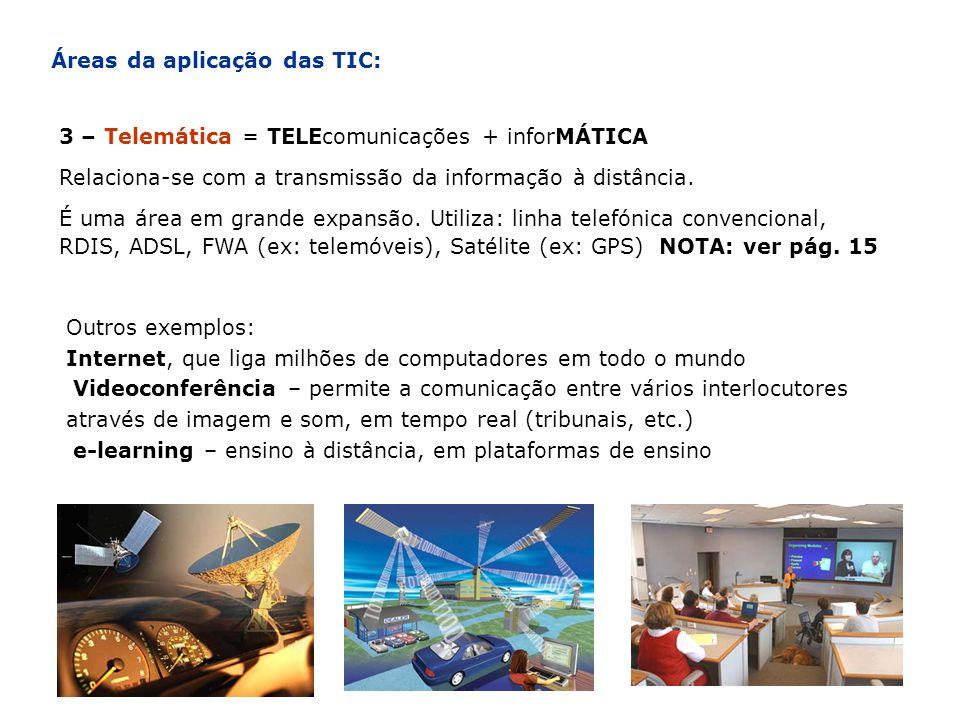 Áreas da aplicação das TIC: