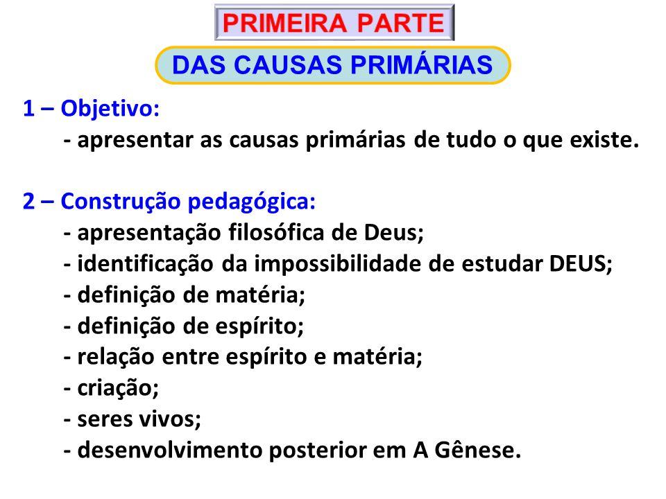 PRIMEIRA PARTE DAS CAUSAS PRIMÁRIAS. 1 – Objetivo: - apresentar as causas primárias de tudo o que existe.
