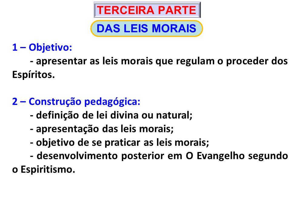 TERCEIRA PARTE DAS LEIS MORAIS. 1 – Objetivo: - apresentar as leis morais que regulam o proceder dos Espíritos.