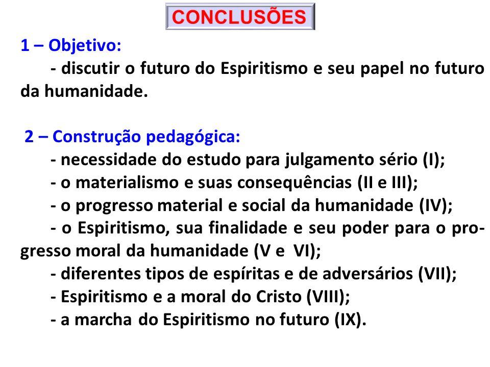 CONCLUSÕES 1 – Objetivo: - discutir o futuro do Espiritismo e seu papel no futuro da humanidade. 2 – Construção pedagógica: