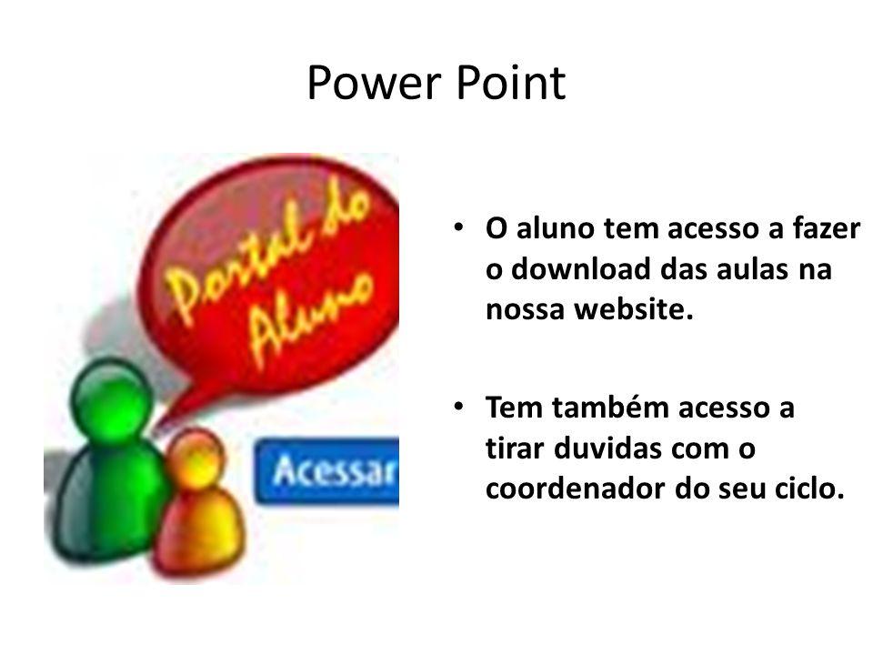 Power Point O aluno tem acesso a fazer o download das aulas na nossa website.