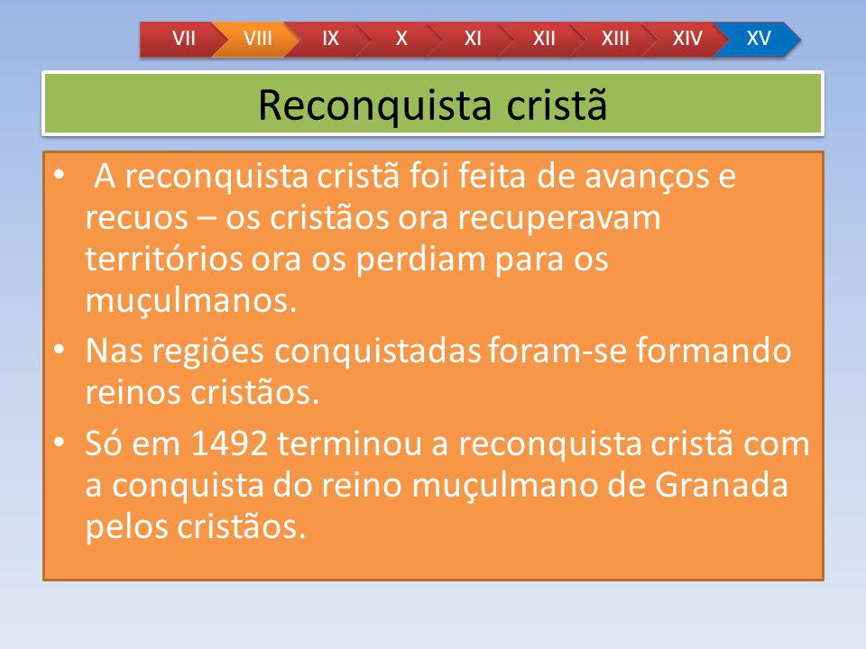 VII VIII. IX. X. XI. XII. XIII. XIV. XV. Reconquista cristã.