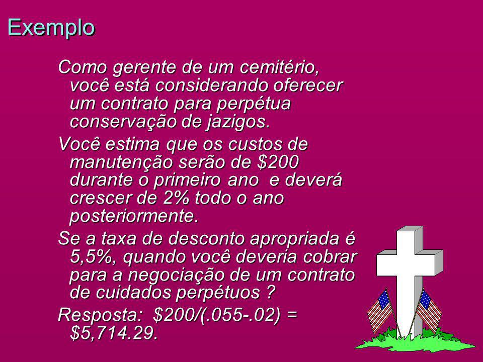 Exemplo Como gerente de um cemitério, você está considerando oferecer um contrato para perpétua conservação de jazigos.