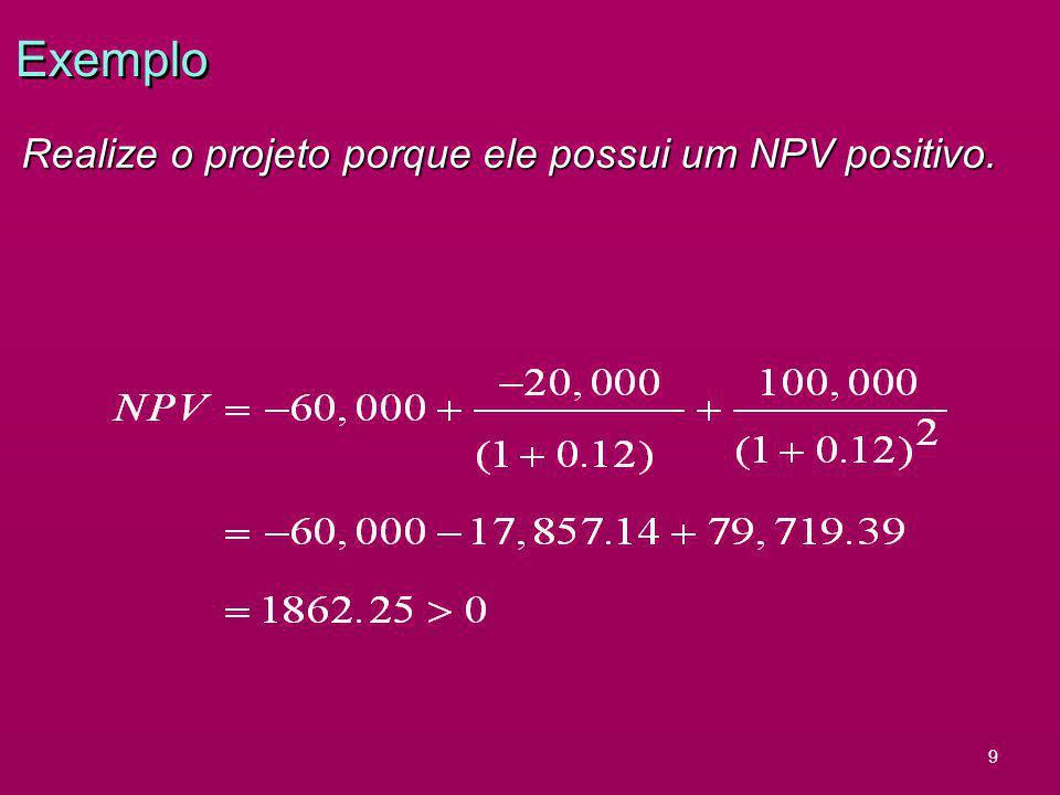 Exemplo Realize o projeto porque ele possui um NPV positivo. 9 6