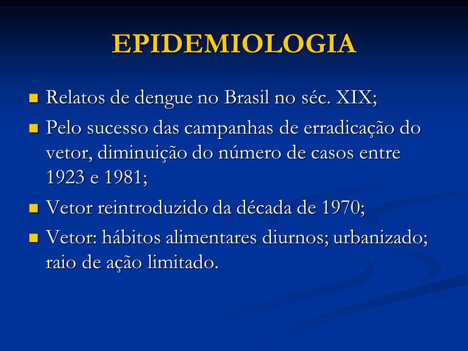 EPIDEMIOLOGIA Relatos de dengue no Brasil no séc. XIX;