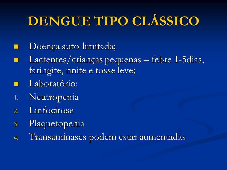 DENGUE TIPO CLÁSSICO Doença auto-limitada;